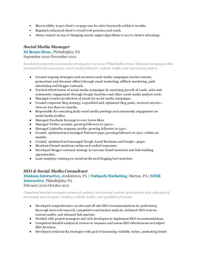 digital marketing manager resume