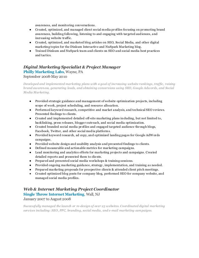 digital marketing manager resumes