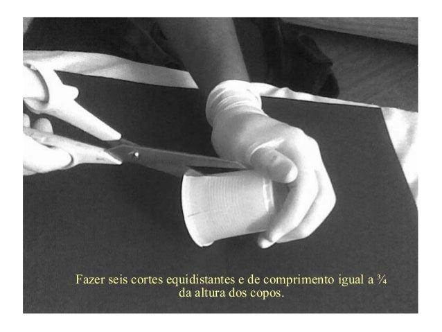 Fazer seis cortes equidistantes e de comprimento igual a ¾da altura dos copos.