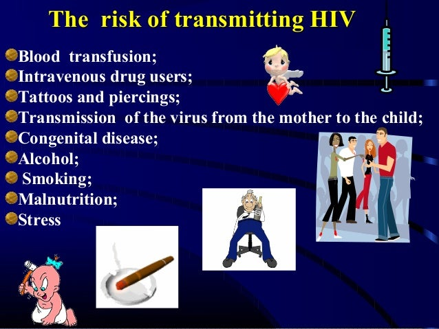 The risk of transmitting HIV Blood transfusion; Intravenous drug users; Tattoos and piercings; Transmission of the virus f...