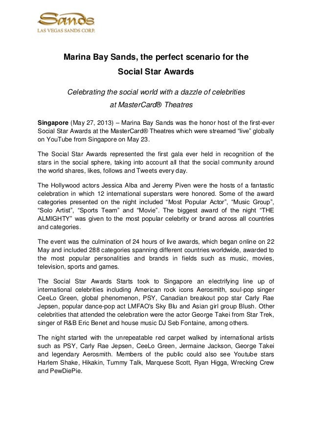 Marina Bay Sands, the perfect scenario for theSocial Star AwardsCelebrating the social world with a dazzle of celebritiesa...