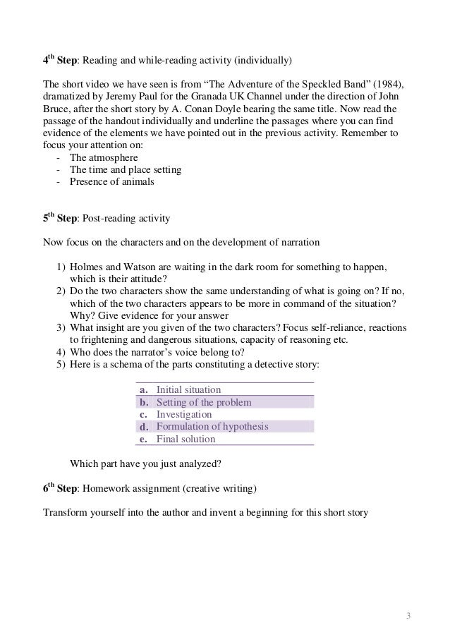 Sherlock holmes the speckled band essay
