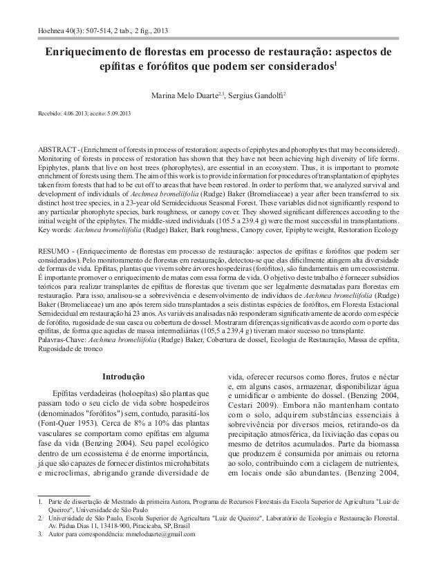Hoehnea 40(3): 507-514, 2 tab., 2 fig., 2013 Enriquecimento de florestas em processo de restauração: aspectos de epífitas ...