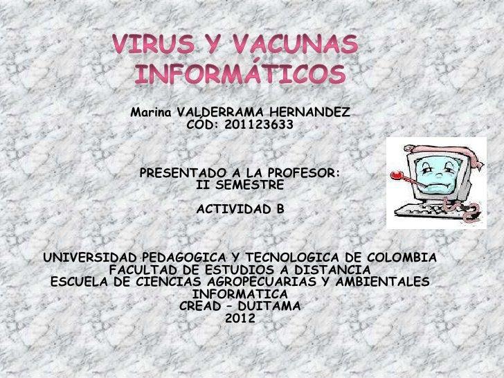 Marina VALDERRAMA HERNANDEZ                  CÓD: 201123633           PRESENTADO A LA PROFESOR:                  II SEMEST...