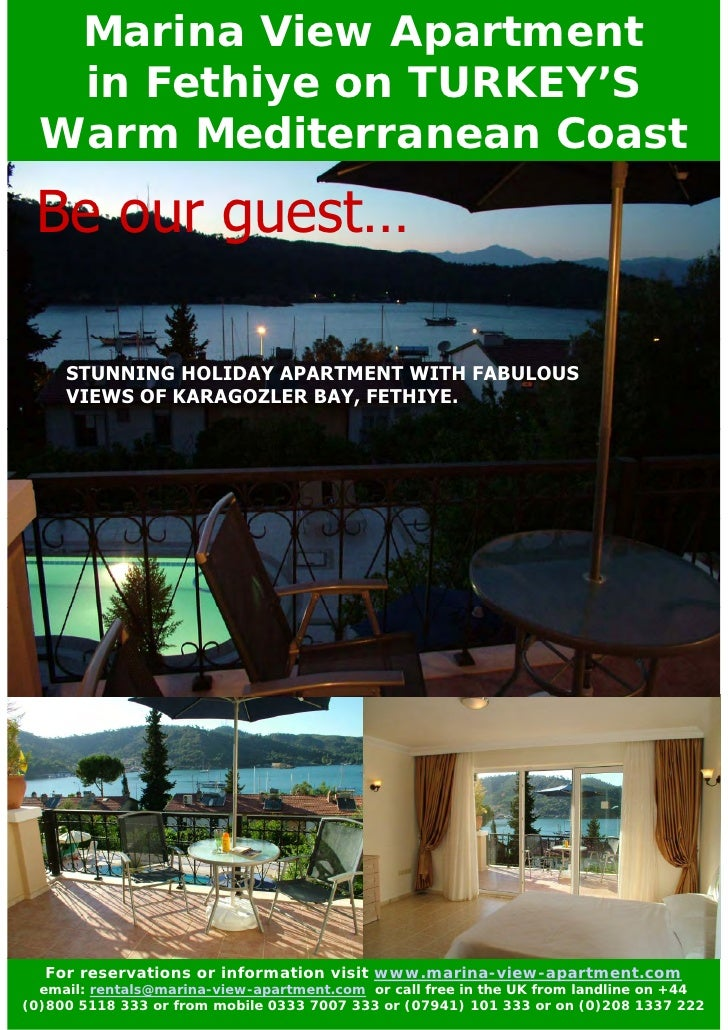 Marina View Apartment   in Fethiye on TURKEY'S  Warm Mediterranean Coast Be our guest…     STUNNING HOLIDAY APARTMENT WITH...