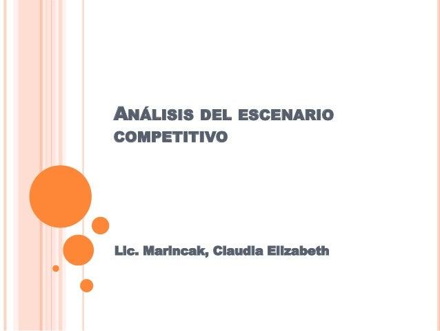ANÁLISIS DEL ESCENARIO  COMPETITIVO  Lic. Marincak, Claudia Elizabeth