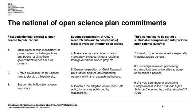 French Open Science Committee Comité pour la science ouverte President : Nicolas Chaillet Director-General for Research an...