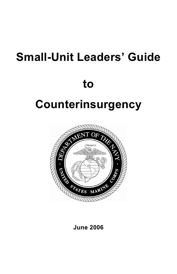 Marine Corps Small Unit Leaders Guide To Counterinsurgency