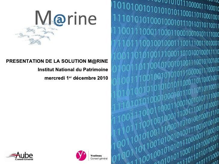 La solution M@rine, archivage électronique