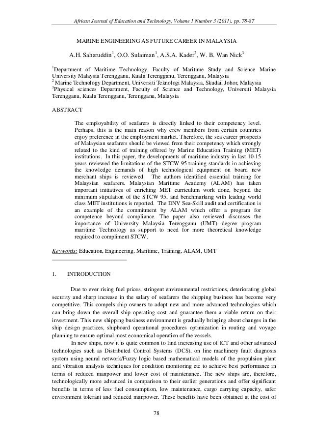 African Journal of Education and Technology, Volume 1 Number 3 (2011), pp. 78-87          MARINE ENGINEERING AS FUTURE CAR...