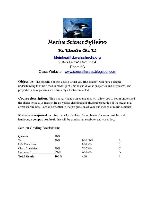 Marine Science Syllabus                                 Ms. Kleinke (Ms. K)                           kleinkea@duvalschool...