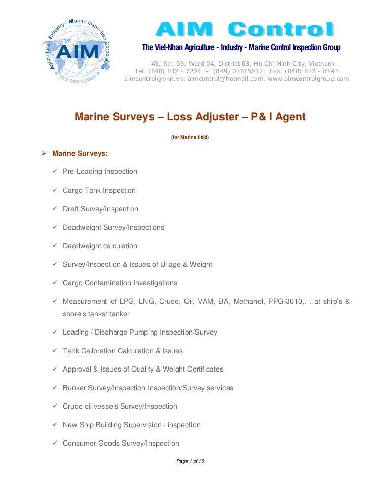 Marine surveys – loss adjuster – p& i agent