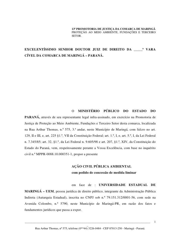 13ª PROMOTORIA DE JUSTIÇA DA COMARCA DE MARINGÁ                                     PROTEÇÃO AO MEIO AMBIENTE, FUNDAÇÕES E...