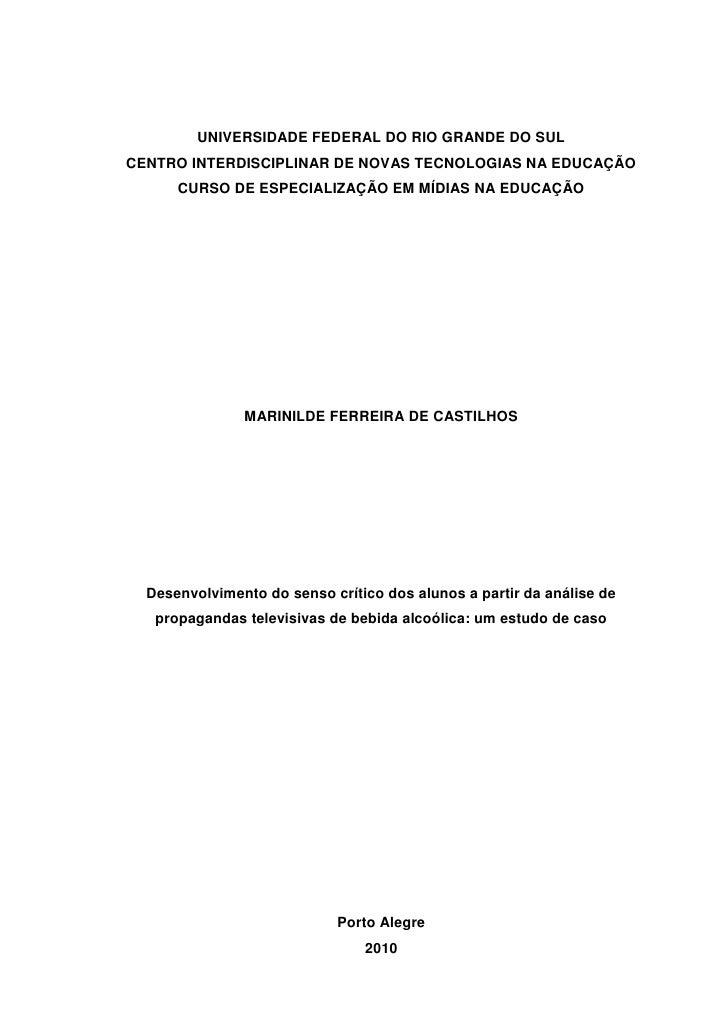 UNIVERSIDADE FEDERAL DO RIO GRANDE DO SULCENTRO INTERDISCIPLINAR DE NOVAS TECNOLOGIAS NA EDUCAÇÃO      CURSO DE ESPECIALIZ...