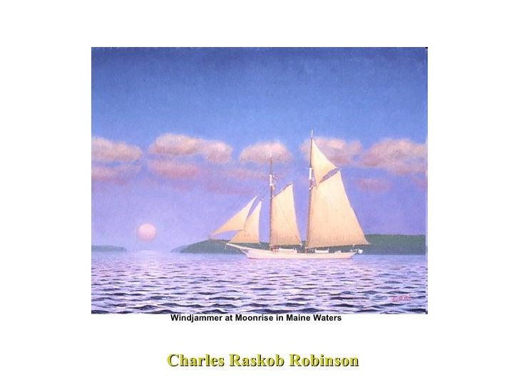 Charles Raskob Robinson Windjammer at Moonrise in Maine Waters