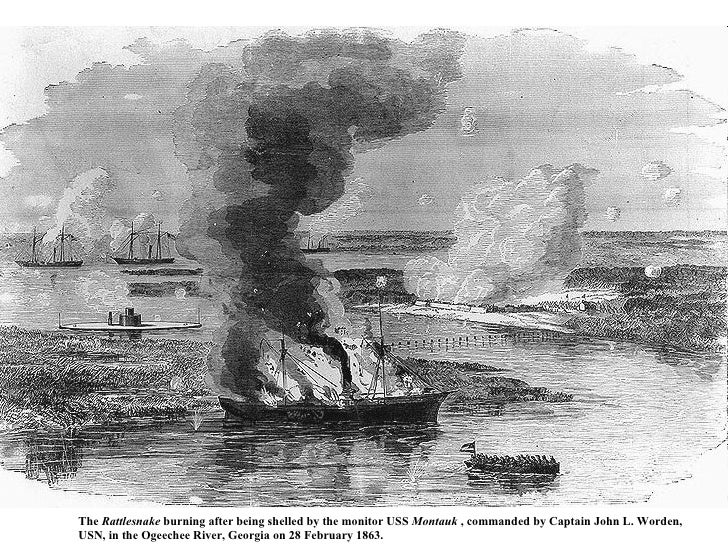 The  Rattlesnake  burning after being shelled by the monitor USS  Montauk  , commanded by Captain John L. Worden,  USN, in...