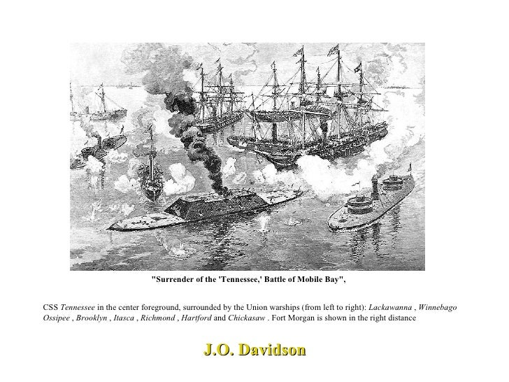 """J.O. Davidson """"Surrender of the 'Tennessee,' Battle of Mobile Bay"""", CSS  Tennessee  in the center foreground, su..."""