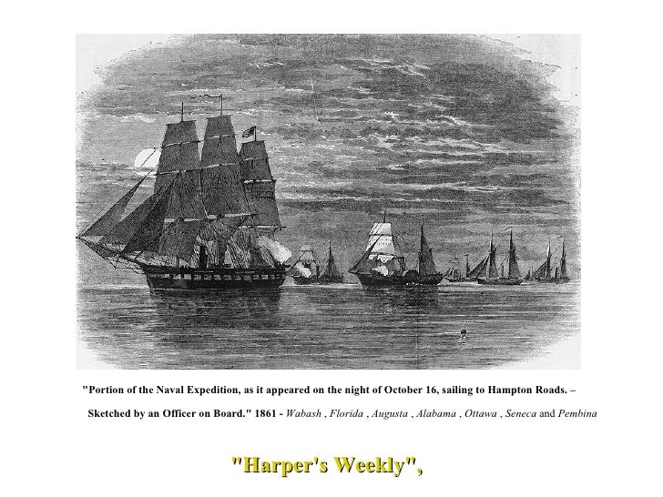 """""""Harper's Weekly"""", """"Portion of the Naval Expedition, as it appeared on the night of October 16, sailing to ..."""