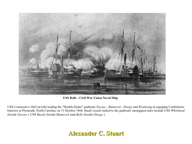 "USS Belle - Civil War Union Naval Ship Alexander C. Stuart USS  Commodore Hull  (at left) leading the ""Double-Ender&q..."