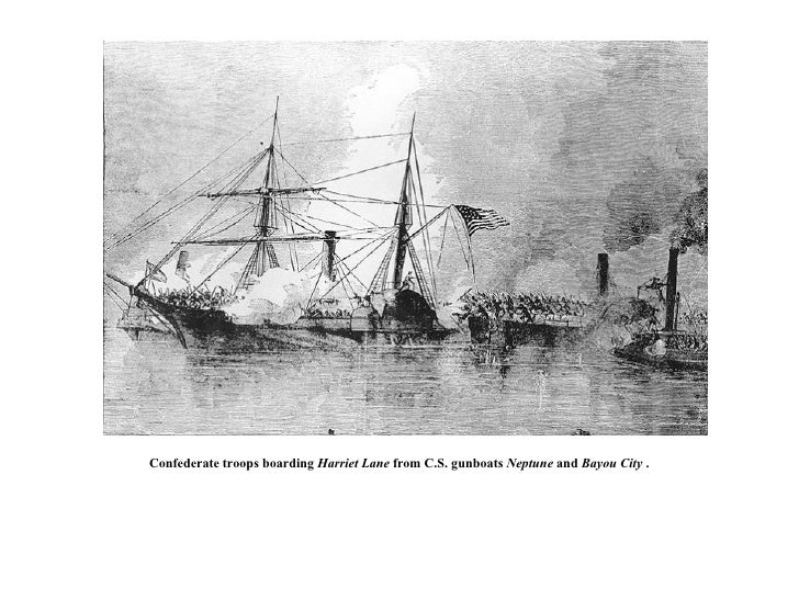 Confederate troops boarding  Harriet Lane  from C.S. gunboats  Neptune  and  Bayou City  .