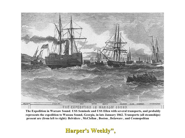 The Expedition in Warsaw Sound .  USS Seminole and USS Ellen with several transports, and probably  represents the expedit...