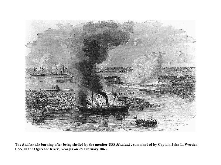 The  Rattlesnake  burning after being shelled by the monitor USS  Montauk  , commanded by Captain John L. Worden, USN, in ...