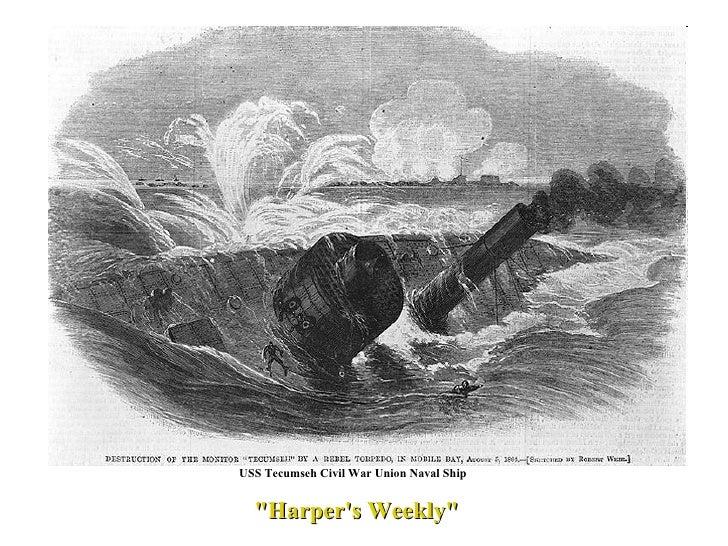 "USS Tecumseh Civil War Union Naval Ship  ""Harper's Weekly"""