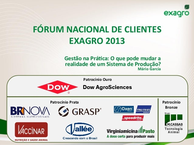 FÓRUM  NACIONAL  DE  CLIENTES   EXAGRO  2013   Gestão  na  PráAca:  O  que  pode  mudar  a   r...