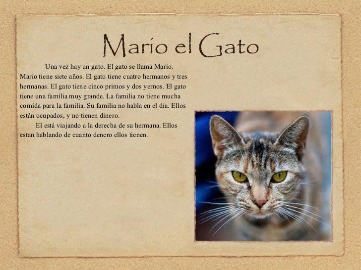 Mario el Gato <ul><li>Una vez hay un gato. El gato se llama Mario. Mario tiene siete años. El gato tiene cuatro hermanos y...
