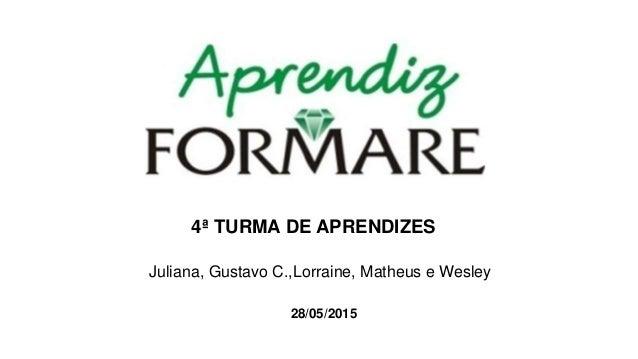 4ª TURMA DE APRENDIZES Juliana, Gustavo C.,Lorraine, Matheus e Wesley 28/05/2015