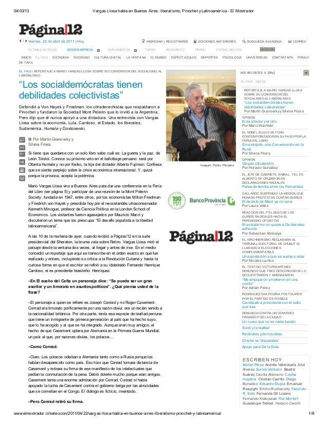 04/03/13 Vargas Llosa habla en Buenos Aires: liberalismo, Pinochet yLatinoamérica - El Mostrador www.elmostrador.cl/selecc...
