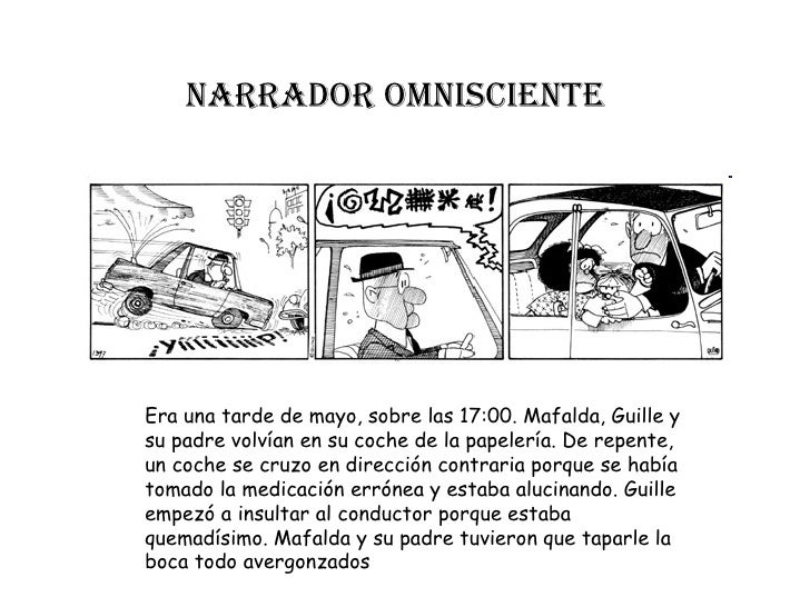 Narrador omNiscieNteEra una tarde de mayo, sobre las 17:00. Mafalda, Guille ysu padre volvían en su coche de la papelería....