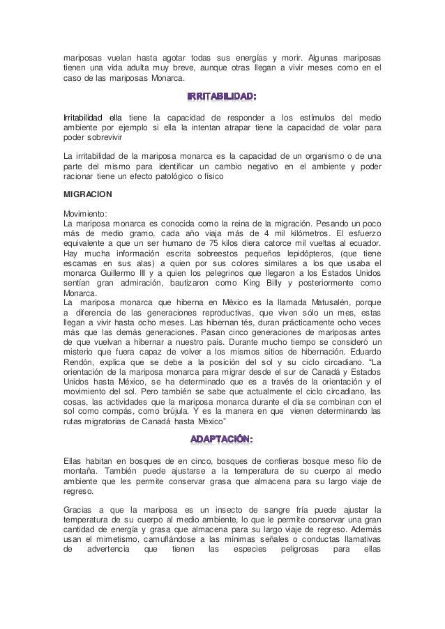 MARIPOSA MONARCA CARACTERISTICAS BIOLOGICAS