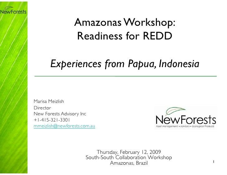 Amazonas Workshop:                    Readiness for REDD         Experiences from Papua, Indonesia   Marisa Meizlish Direc...