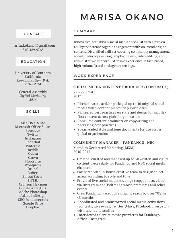 Marisa Okano - Resume - March 2018