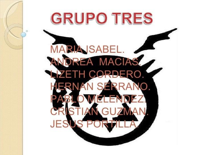 MARIA ISABEL. ANDREA  MACIAS. LIZETH CORDERO. HERNAN SERRANO. PABLO MELENDEZ. CRISTIAN GUZMAN. JESUS PORTILLA.