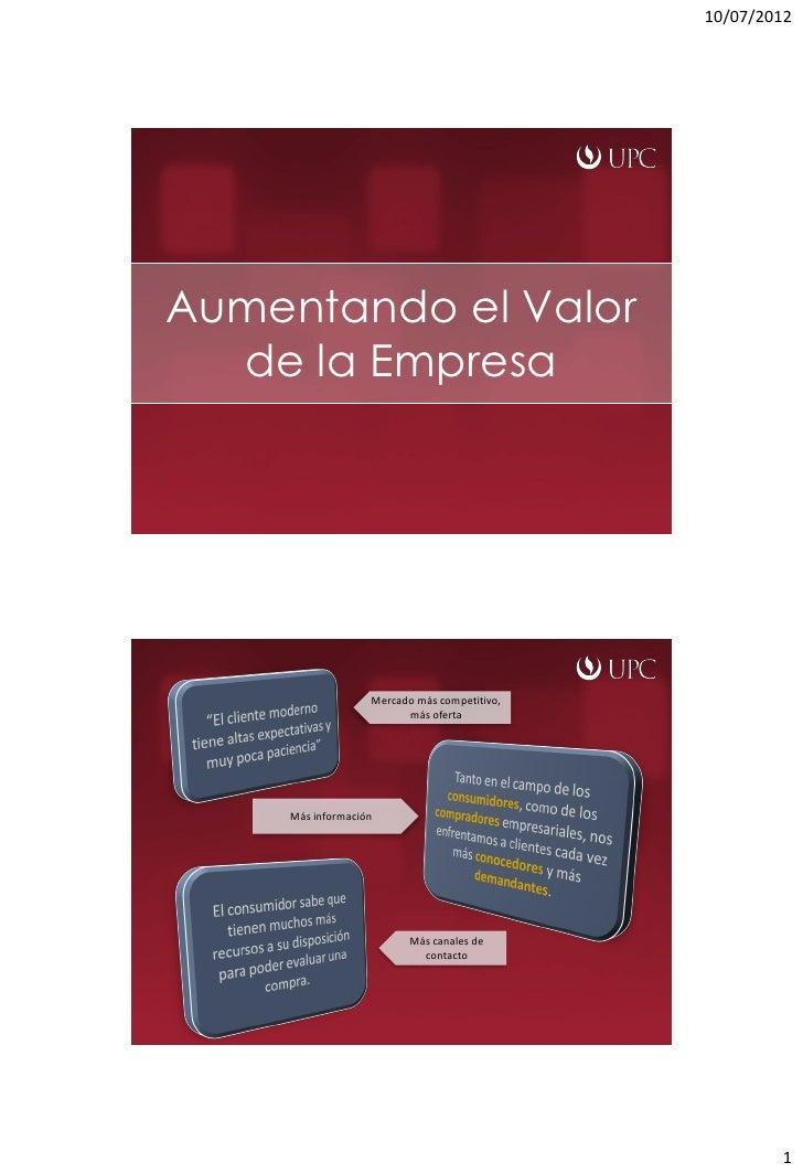 10/07/2012Aumentando el Valor  de la Empresa                   Mercado más competitivo,                         más oferta...
