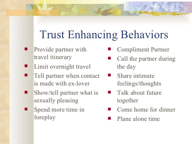 Building trust after infidelity