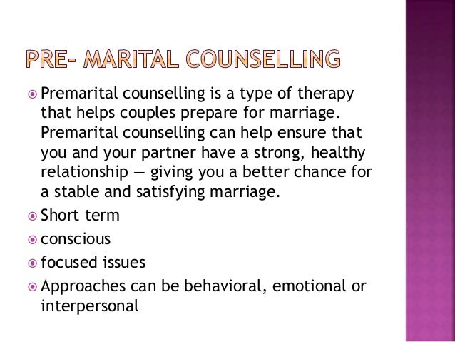 Counselling about premarital sex