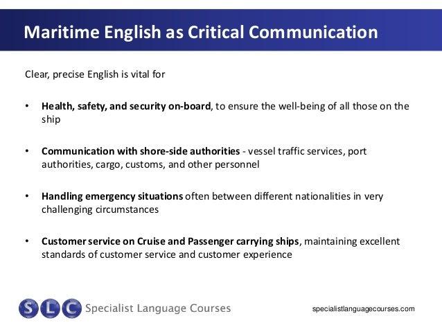 maritime english Maritime english- management level core syllabus contents 1 2 3 4 5parts of speech maritime correspondence vocabulary oral communication pre.