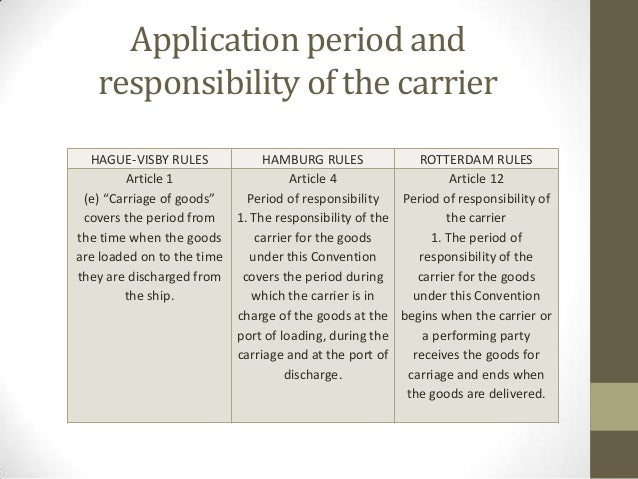 hague hamburg comparison Hamburg rules for international carriage general acceptance by the trading nations of the world of the hamburg rules for international carriage by sea would consitute a huge breakthrough in the reform of the law of international carriage.