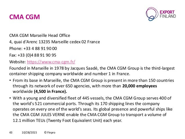 Maritime offshore market snapshot france - Cma cgm france head office ...