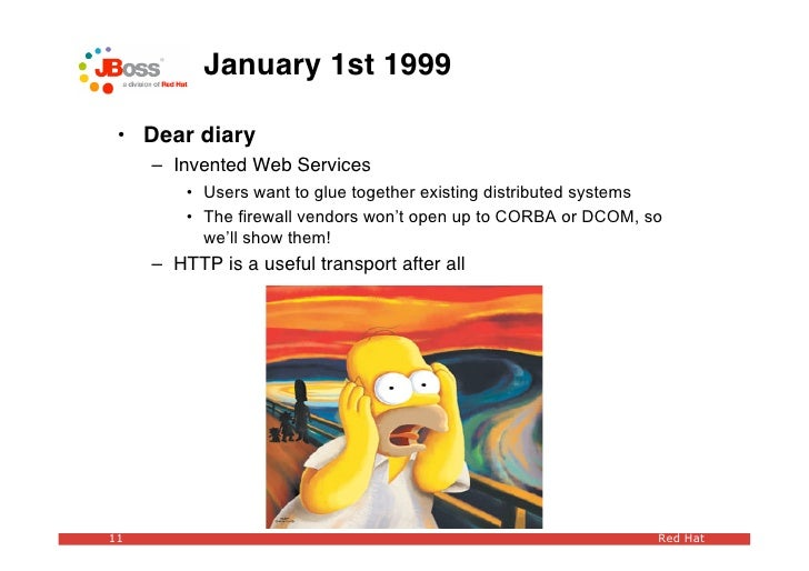 January 1st 1999   • Dear diary      – Invented Web Services          • Users want to glue together existing distributed s...
