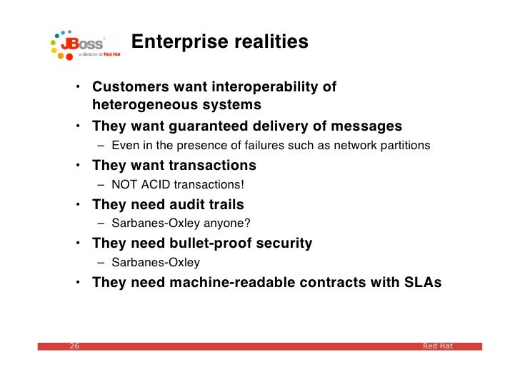 Enterprise realities   • Customers want interoperability of    heterogeneous systems  • They want guaranteed delivery of m...