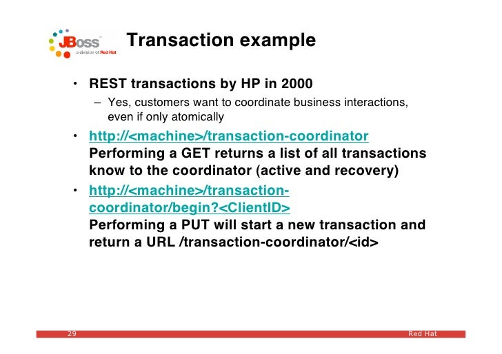 Transaction example   • REST transactions by HP in 2000      – Yes, customers want to coordinate business interactions,   ...
