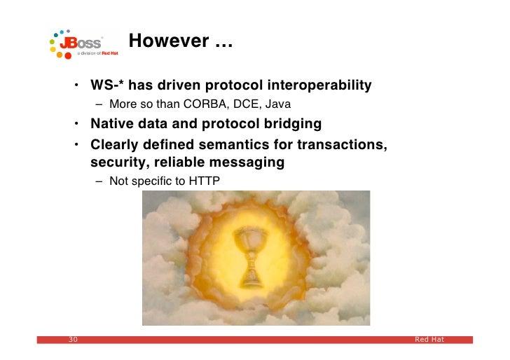 However …   • WS-* has driven protocol interoperability      – More so than CORBA, DCE, Java  • Native data and protocol b...