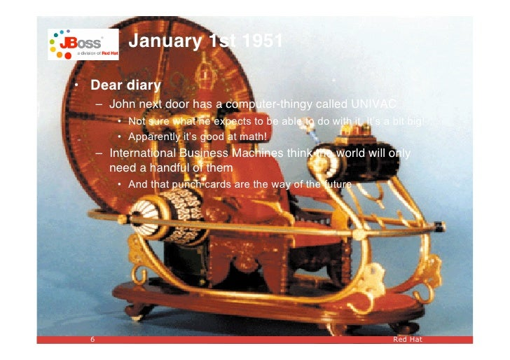 January 1st 1951  • Dear diary       – John next door has a computer-thingy called UNIVAC           • Not sure what he exp...