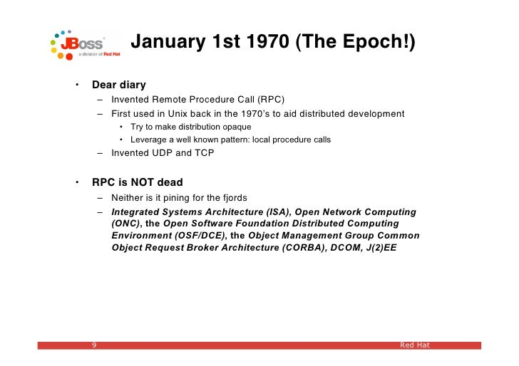 January 1st 1970 (The Epoch!)  •   Dear diary         – Invented Remote Procedure Call (RPC)         – First used in Unix ...