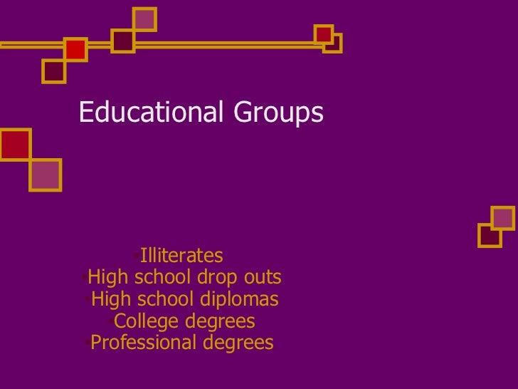 Educational Groups <ul><li>Illiterates  </li></ul><ul><li>High school drop outs </li></ul><ul><li>High school diplomas </l...