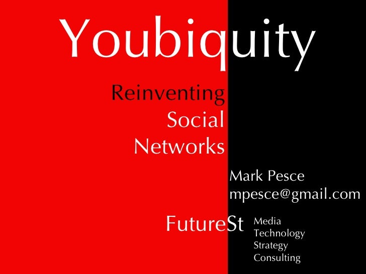 Youbiquity Mark Pesce [email_address] FutureSt Media Technology Strategy Consulting Reinventing Social Networks